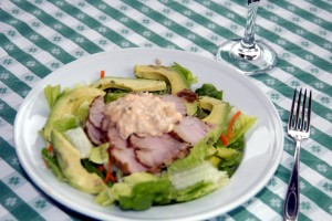 salad with cold pork tenderloin