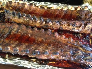 Ribs after they cooked for an hour