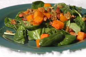 Spinach & butternut squash salad