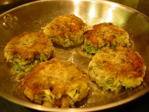 crab cakes in skillet