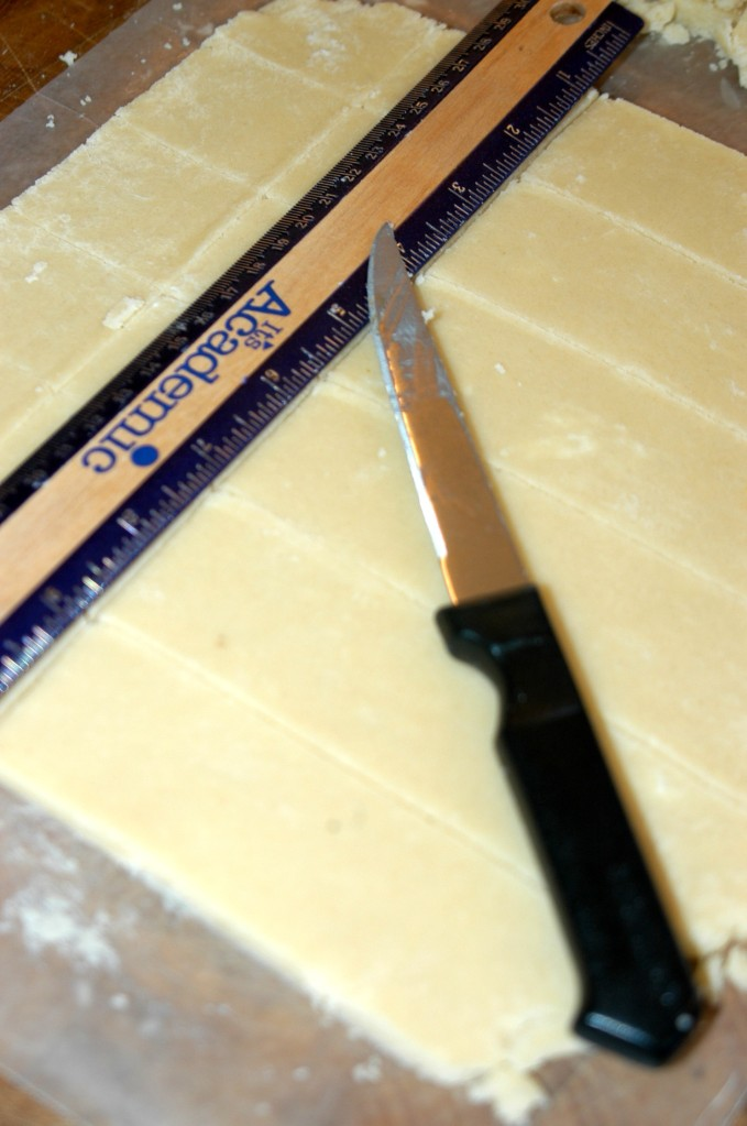 cutting shortbread with ruler