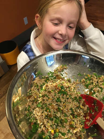Lucy with farro salad